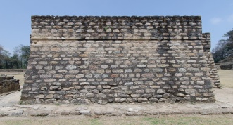 The stone work on one of the pyramids